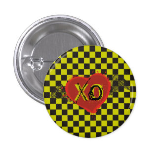 Custom color checkerboard grunge tattoo heart wing 1 inch round button