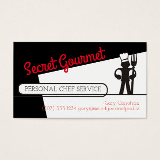 Custom color chef big fork catering business card