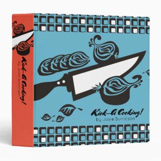 Custom color chefs knife onion recipe cookbook 3 ring binder