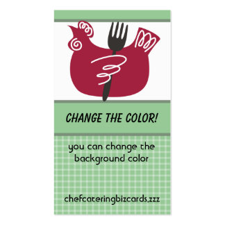 Custom color chicken fork cooking business card