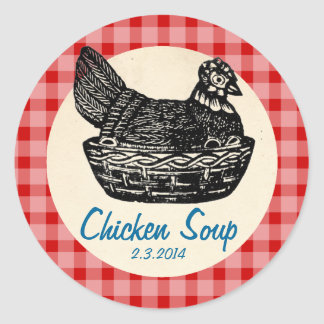 custom color chicken soup stew canning label classic round sticker