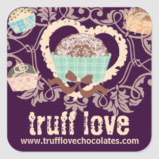Custom color chocolate truffles confections candy square sticker