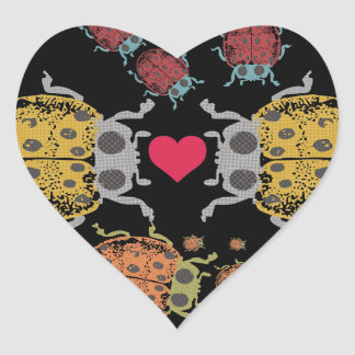 Custom color crawling ladybugs beetles love bugs heart sticker