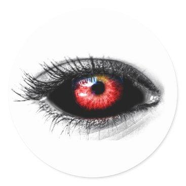Halloween Themed Custom Color Creepy Red Zombie/Vampire Eye Sticker