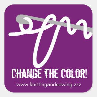 Custom color crochet hook loop yarn gift tag label square sticker