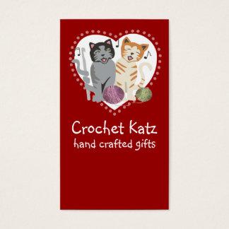 Custom color crochet hook yarn cats business card