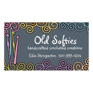 Custom color crochet hooks colorful yarn swirls business card