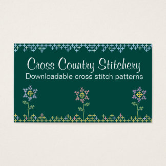 Custom color cross stitch embroidery flowers business card