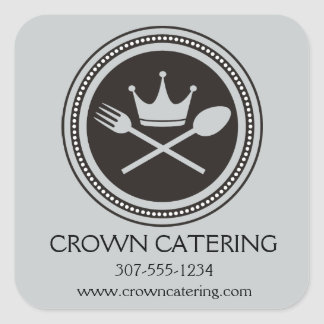 Custom color crown spoon fork chef foodie catering square sticker