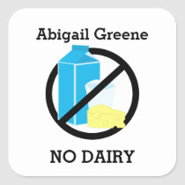 Custom Color Dairy Allergy Alert Personalized Kids Square Sticker