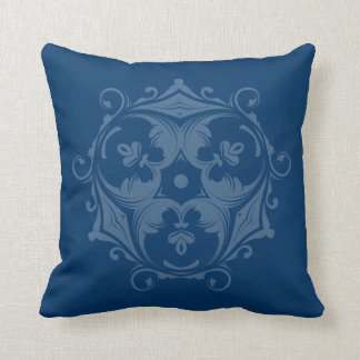 Custom Color Decorative Trifoil Prussian Blue Throw Pillow