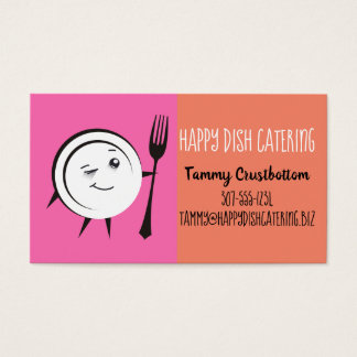 Custom color dinner plate chef catering biz card