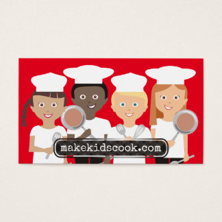 Custom color diversity kids cooking teen chefs business card