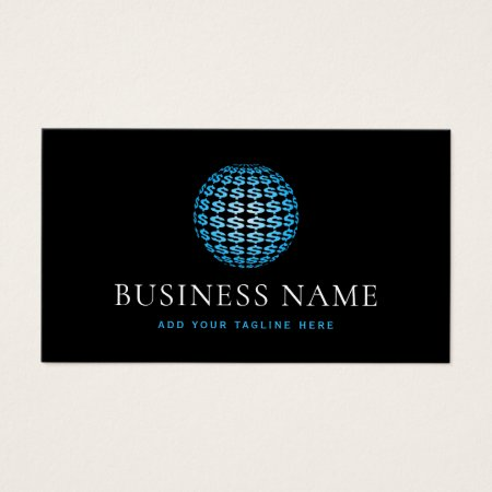 Black and Custom Color Blue Classy Modern Accounting and Finance Business Cards Template