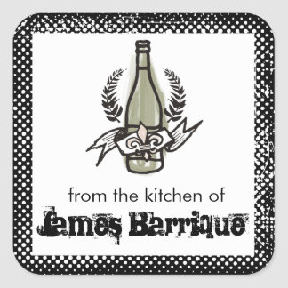 Custom color doodle French vineyard homemade wine Square Sticker
