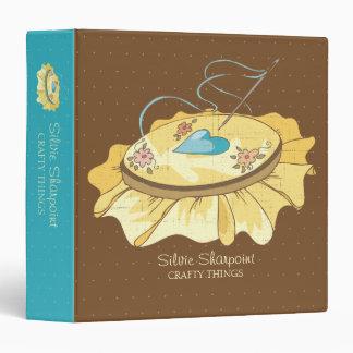Custom color embroidery hoop hearts flowers 3 ring binder