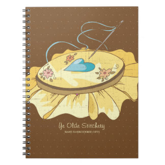 Custom color embroidery hoop hearts flowers spiral notebook