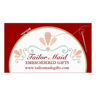 Custom color embroidery hoop needle thread business card