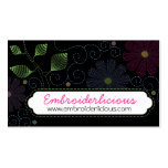 Custom color embroidery sewing stitches flowers business cards