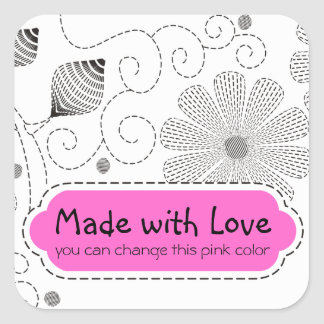 Custom color embroidery sewing stitches flowers square sticker