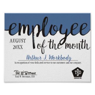 Custom color employee of the month certificate poster
