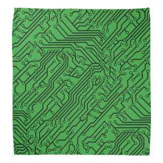 Custom Color Fabric Black Circuit Board Pattern Bandana