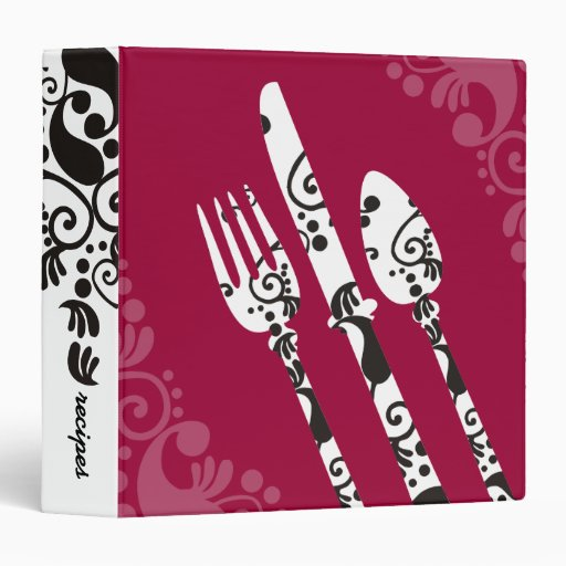 custom color fancy eating utensils recipe binder