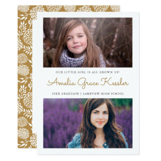Custom Color Floral Graduation Party Invitation