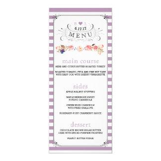 Custom Color Floral Striped Wedding Menus Card