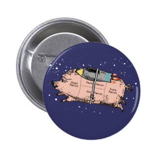 custom color flying bacon outer space rocket pig pin
