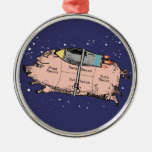 custom color flying bacon outer space rocket pig metal ornament