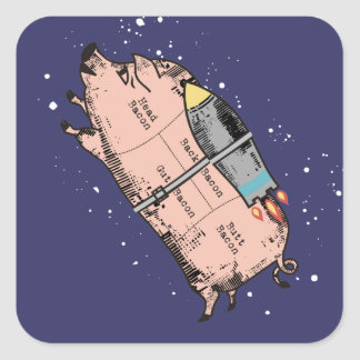 custom color flying bacon outer space rocket pig square sticker