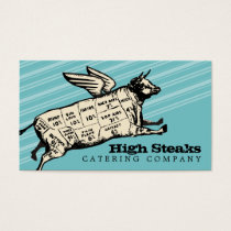 custom color flying cow beef cuts chef catering business card
