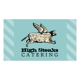 custom color flying cow beef cuts chef catering Double-Sided standard business cards (Pack of 100)