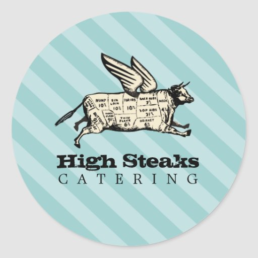 custom color flying cow beef cuts chef catering stickers