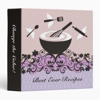 custom color flying utensils bowl recipe binder
