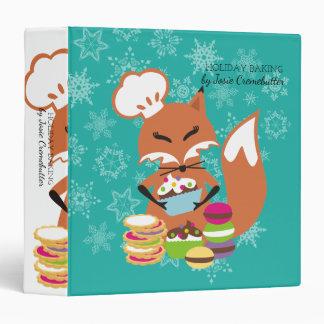 Custom color fox pastry chef Christmas cookbook Binder