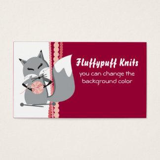 Custom color fox yarn knitting needles gift tag