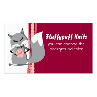 Custom color fox yarn knitting needles gift tag business card
