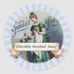 custom color French chocolate woman canning label Stickers