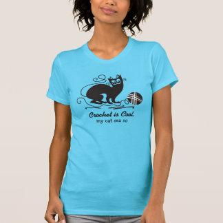 Custom color funny black cat crochet hooks yarn T-Shirt