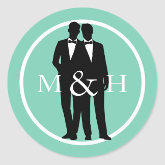 Custom Color Gay Couple Grooms Wedding Stickers