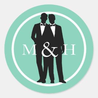 Custom Color Gay Grooms Wedding Monogram Stickers