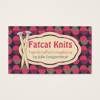 Custom color geometric circles knitting needles business card