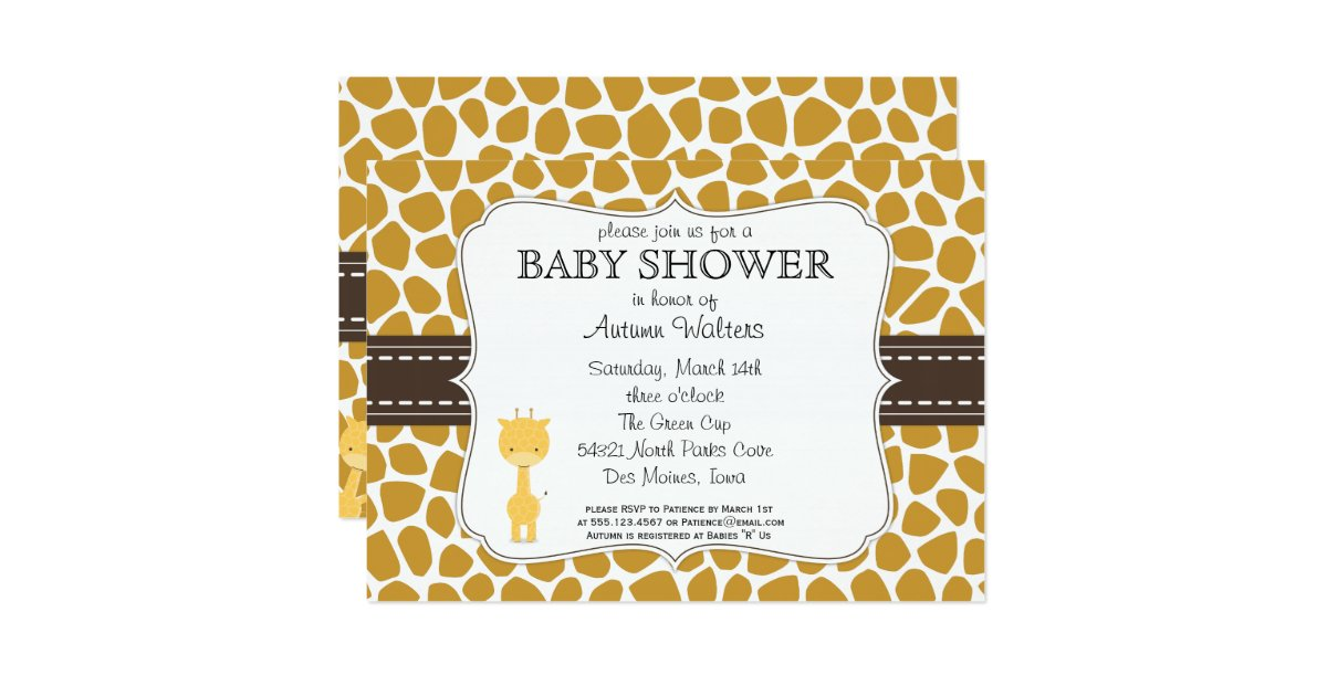 custom color giraffe baby shower invitations zazzle