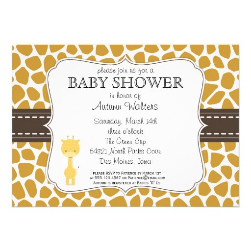 giraffe set against a modern giraffe print background this baby shower