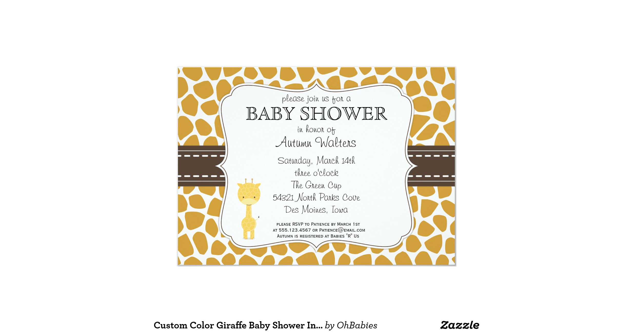 custom color giraffe baby shower invitations
