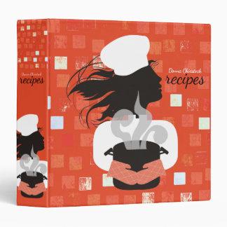 Custom color girl chef aromas recipe cookbook binder