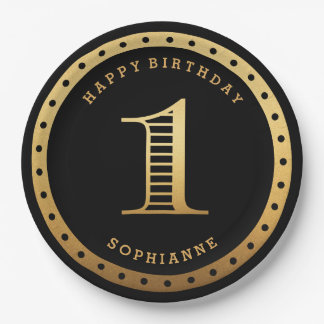 Custom Color Gold First Birthday Paper Plates 9 Inch Paper Plate
