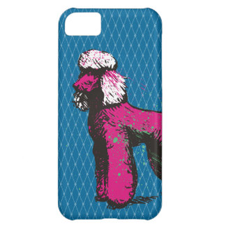 Custom color grunge pink poodle fishnet phone case iPhone 5C cover